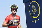 Red Jersey Points leader Dylan Groenewegen (NED) Team Lotto NL-Jumbo at sign on before the start of Stage 5 The Meraas Stage final stage of the Dubai Tour 2018 the Dubai Tour&rsquo;s 5th edition, running 132km from Skydive Dubai to City Walk, Dubai, United Arab Emirates. 10th February 2018.<br /> Picture: LaPresse/Fabio Ferrari | Cyclefile<br /> <br /> <br /> All photos usage must carry mandatory copyright credit (&copy; Cyclefile | LaPresse/Fabio Ferrari)