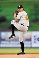 West Virginia Power starting pitcher Luis Heredia (53) in action against the Kannapolis Intimidators at CMC-Northeast Stadium on July 10, 2013 in Kannapolis, North Carolina.  The Power defeated the Intimidators 4-0.   (Brian Westerholt/Four Seam Images)