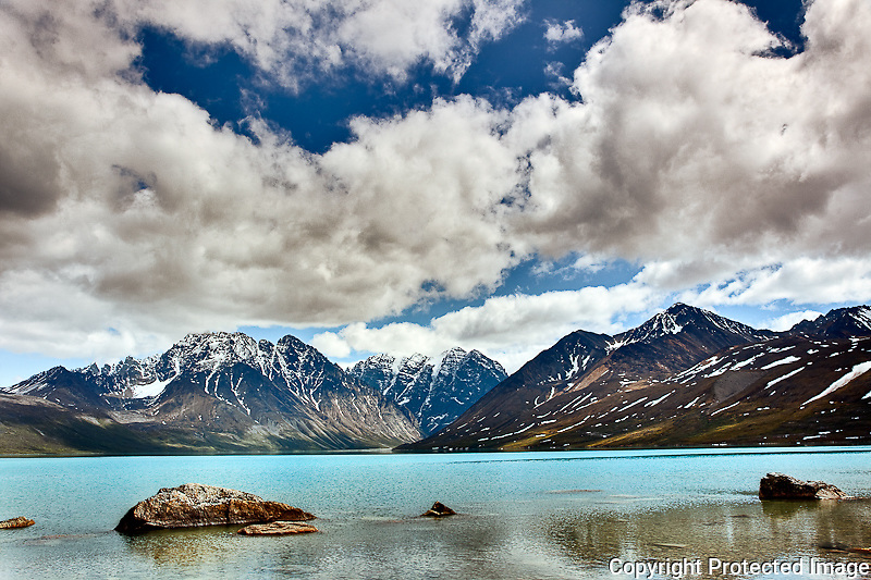 Blue lake and mountains, Alaska