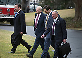 "From left to right: Dan Scavino, White House Director of Social Media and Assistant to the President; General John Kelly, White House Chief of Staff; Johnny DeStefano, Assistant to President Donald Trump and Director of the Office of Presidential Personnel; and General Joseph ""Keith"" Kellogg Jr., chief of staff and executive secretary for the National Security Council, walk to Marine One to accompany United States President Donald J. Trump from the White House in Washington, DC for a trip to Mar-a-Lago, Florida for the week-end on Friday, February 16, 2018.<br /> Credit: Ron Sachs / CNP"