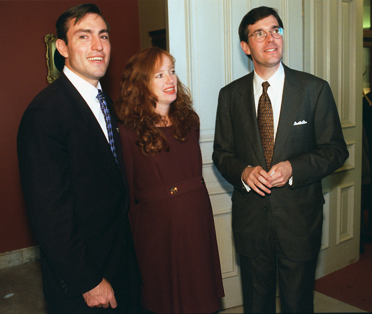 11/05/97.FOSSELLA--Vito J. Fossella and his wife, Mary Patricia, who was due to deliver the couple's second child on Election Day, stand with Rep. Bill Paxon, R-N.Y., during a photo opp just before being sworn-in as the newest House member. .CONGRESSIONAL QUARTERLY PHOTO BY SCOTT J. FERRELL