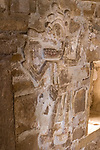 Stucco frieze figure depicting Lord Nine Flower inside Tomb 1, his crypt, at the ruins of the Zapotec city of Zaachila in the Central Valley of Oaxaca, Mexico.