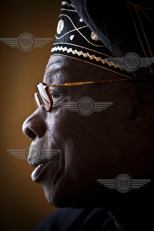 A portrait of Olusegun Mathew Okikiola Aremu Abasanjo, former Army general and former President of Nigeria. Pictured in Brussels.