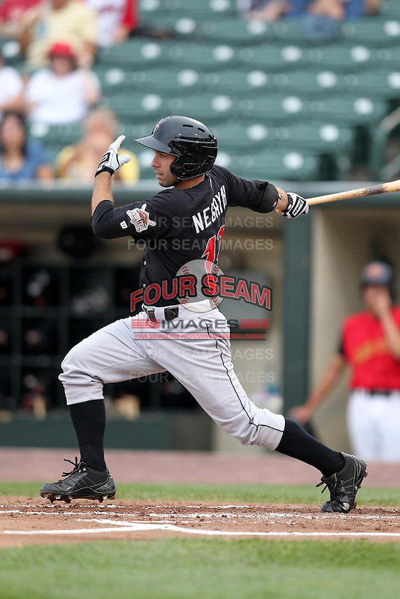 Indianapolis Indians second baseman Jim Negrych during a game vs. the Rochester Red Wings at Frontier Field in Rochester, New York;  July 17, 2010.   Indianapolis defeated Rochester 10-7.  Photo By Mike Janes/Four Seam Images