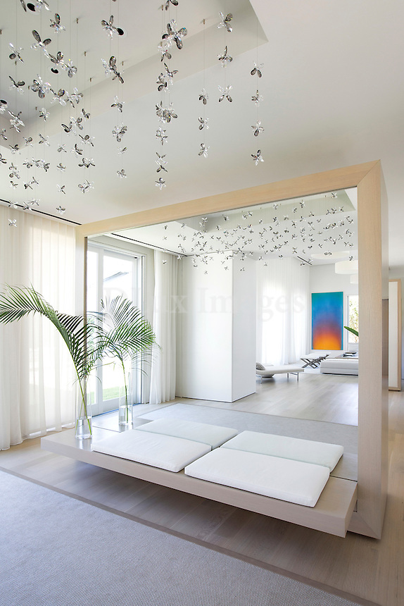 Modern ceiling lamp and wall mirror