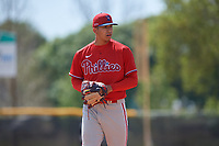 Philadelphia Phillies pitcher Francisco Morales (29) during an exhibition game against the Canada Junior National Team on March 11, 2020 at Baseball City in St. Petersburg, Florida.  (Mike Janes/Four Seam Images)