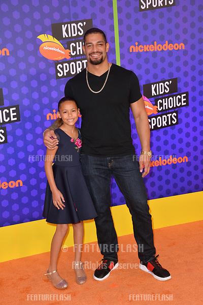 Joelle Anoai & Roman Reigns at the Nickelodeon Kids' Choice Sports Awards 2018 at Barker Hangar, Santa Monica, USA 19 July 2018<br /> Picture: Paul Smith/Featureflash/SilverHub 0208 004 5359 sales@silverhubmedia.com