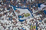 15.04.2018, VELTINS Arena, Gelsenkirchen, Deutschland, GER, 1. FBL, FC Schalke 04 vs. Borussia Dortmund, im Bild Fanblock / Fans Schalke / Nordkurve / Feature<br /> <br /> Foto &copy; nordphoto / Kurth