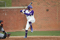 Evan Bergman (10) of the High Point Panthers at bat against the Campbell Camels at Williard Stadium on March 16, 2019 in  Winston-Salem, North Carolina. The Camels defeated the Panthers 13-8. (Brian Westerholt/Four Seam Images)