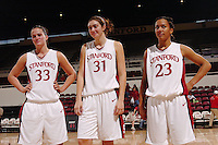 13 November 2005: Jillian Harmon, Morgan Clyburn, and Rosalyn Gold-Onwude during Stanford's 92-65 win over Love and Basketball at Maples Pavilion in Stanford, CA.