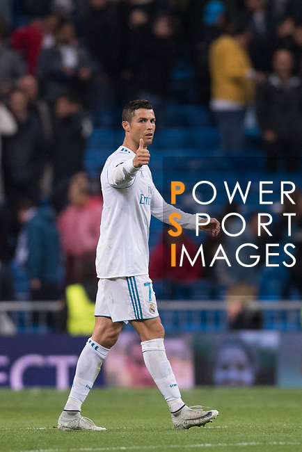 Cristiano Ronaldo of Real Madrid gestures after the UEFA Champions League 2017-18 match between Real Madrid and Tottenham Hotspur FC at Estadio Santiago Bernabeu on 17 October 2017 in Madrid, Spain. Photo by Diego Gonzalez / Power Sport Images