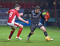 Lincoln City's Harry Toffolo vies for possession with Crewe Alexandra's James Jones<br /> <br /> Photographer Andrew Vaughan/CameraSport<br /> <br /> The EFL Sky Bet League Two - Crewe Alexandra v Lincoln City - Wednesday 26th December 2018 - Alexandra Stadium - Crewe<br /> <br /> World Copyright &copy; 2018 CameraSport. All rights reserved. 43 Linden Ave. Countesthorpe. Leicester. England. LE8 5PG - Tel: +44 (0) 116 277 4147 - admin@camerasport.com - www.camerasport.com