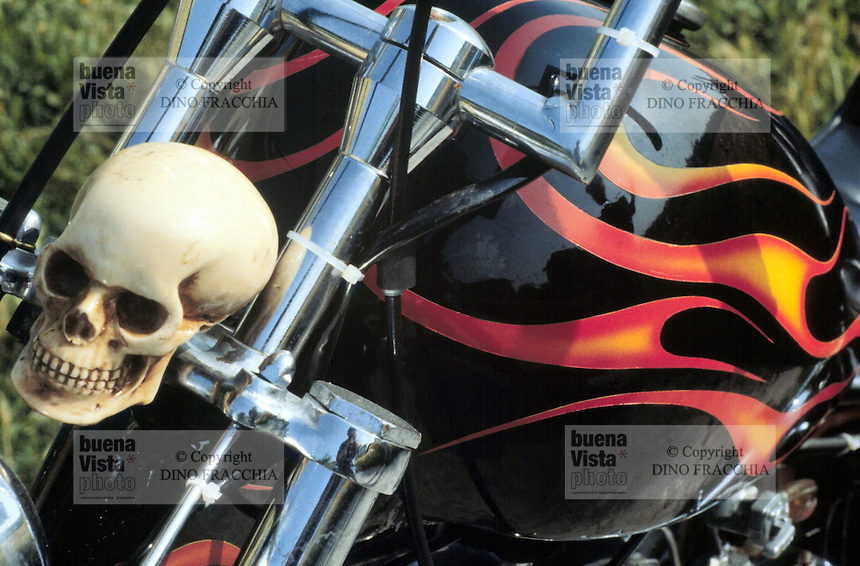"- group of ""bikers"" motorcyclists in province of Udine, detail of the decoration of a motorcycle....- gruppo di motociclisti ""bikers"" in provincia di Udine, particolare della decorazione di una moto"
