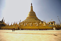 The Shwemawdaw Paya was originally built around the tenth century, C.E. It was destroyed several times due to earthquakes, including one in 1917 and another in 1930. The current stupa, as of its most recent rebuilding, stands at 375 feet, making it the tallest pagoda in Myanmar.