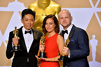 Kazuhiro Tsuji, Lucy Sibbick &amp; David Malinowski at the 90th Academy Awards Awards at the Dolby Theartre, Hollywood, USA 04 March 2018<br /> Picture: Paul Smith/Featureflash/SilverHub 0208 004 5359 sales@silverhubmedia.com