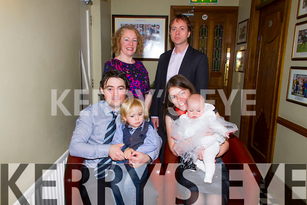 ***Reproduction Free***<br /> JDM Photography.ie<br /> Photographer: Michael Collins<br /> <br /> Pictured in Leens Hotel, Abbeyfeale on Sunday for the Christening of baby Luisne O'Connell. Pictured back row L-R: Bridget O'Connell, Mountcollins, Godmother, Cormac Canty, Liscarroll, Godfather. Front Row L-R: Donal O'Connell, Crag, Father, iollann O'Connell, Crag, Brother, Siobhan O'Connell, Crga, Mother with baby Luisne. The Christening was held in the Church of the Assumption Abbeyfeale at 1 o'clock by Fr. O'Shea.