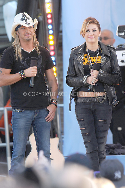WWW.ACEPIXS.COM . . . . . .June 18 2010, New York City.... Miley Cyrus and Bret Michaels perform on ABC's 'Good Morning America' at Rumsey Playfield, Central Park on June 18, 2010 in New York City...Please byline: KRISTIN CALLAHAN - ACEPIXS.COM.. . . . . . ..Ace Pictures, Inc: ..tel: (212) 243 8787 or (646) 769 0430..e-mail: info@acepixs.com..web: http://www.acepixs.com .