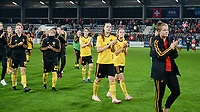 20181009 – BIEL BIENNE , SWITZERLAND : Belgian players with Tine De Caigny pictured looking dejected and disappointed after failing to qualify after the female soccer game between Switzerland and the Belgian Red Flames , the second leg in the semi finals play offs for qualification for the World Championship in France 2019 ; the first leg ended in equality 2-2 ;  Tuesday 9 th october 2018 at The Tissot Arena  in BIEL BIENNE , Switzerland . PHOTO SPORTPIX.BE | DAVID CATRY