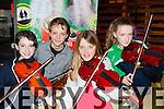 Islínn Ní Chróinín Headford, Caoilte Ó Chróinín Headford, Becci Fleming and Lynne Fahy Killarney playing the fiddle at the Gathering in the Gleneagle Hotel on Sunday