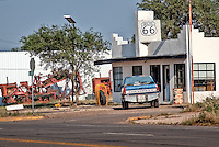 Old service station in Shamrock Texas on Route 66.