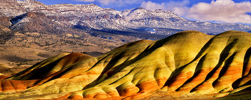 View of Painted Hills after melted snowfall. John Day Fossil Beds National Monument, Oregon