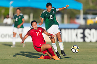 Bradenton, FL - Sunday, June 12, 2018: Maya Doms, Nicole Perez during a U-17 Women's Championship Finals match between USA and Mexico at IMG Academy.  USA defeated Mexico 3-2 to win the championship.