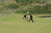 Mark Foster (ENG) scores a hole in one at the par3 7th signature hole during Thursday's Round 1 of the 2018 Dubai Duty Free Irish Open, held at Ballyliffin Golf Club, Ireland. 5th July 2018.<br /> Picture: Eoin Clarke | Golffile<br /> <br /> <br /> All photos usage must carry mandatory copyright credit (&copy; Golffile | Eoin Clarke)