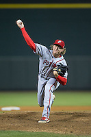 Potomac Nationals relief pitcher Jake Johansen (37) in action against the Winston-Salem Dash at BB&T Ballpark on April 30, 2015 in Winston-Salem, North Carolina.  The Nationals defeated the Dash 5-4..  (Brian Westerholt/Four Seam Images)