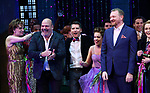 "Casey Nicholaw, Chad Beguelin and Bob Martin with the cast during the Broadway Opening Night Curtain Call of ""The Prom"" at The Longacre Theatre on November 15, 2018 in New York City."