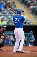 Oklahoma City Dodgers right fielder Alex Verdugo (27) at bat during against the Colorado Springs Sky Sox on June 2, 2017 at Chickasaw Bricktown Ballpark in Oklahoma City, Oklahoma.  Colorado Springs defeated Oklahoma City 1-0 in ten innings.  (Mike Janes/Four Seam Images)