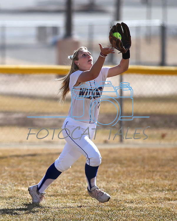 Western Nevada Wildcat Jennie Quam makes a play in centerfield during a college softball game against Colorado Northwestern in Carson City, Nev., on Friday, Feb. 22, 2013..Photo by Cathleen Allison