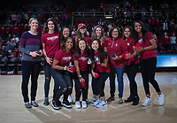 Stanford, CA - January 24, 2020: Women's Tennis Team National Champions at Maples Pavilion. The Stanford Cardinal defeated the Colorado Buffaloes in overtime, 76-68.