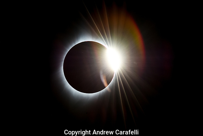 "As the moon continues its journey across the sun after ""totality"" during the 2017 Total Solar Eclipse, the phenomenom  known as ""The Diamond Ring"" appears in skies above Torrington, WY."