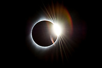 """As the moon continues its journey across the sun after """"totality"""" during the 2017 Total Solar Eclipse, the phenomenom  known as """"The Diamond Ring"""" appears in skies above Torrington, WY."""