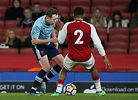 Blackpool U18's Nathan Shaw Arsenal U18's Vontae Daley-Campbell<br /> <br /> Photographer Andrew Kearns/CameraSport<br /> <br /> Emirates FA Youth Cup Semi- Final Second Leg - Arsenal U18 v Blackpool U18 - Monday 16th April 2018 - Emirates Stadium - London<br />  <br /> World Copyright &copy; 2018 CameraSport. All rights reserved. 43 Linden Ave. Countesthorpe. Leicester. England. LE8 5PG - Tel: +44 (0) 116 277 4147 - admin@camerasport.com - www.camerasport.com