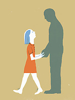 Girl holding hands of man's silhouette ExclusiveImage