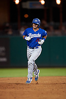 Rancho Cucamonga Quakes catcher Steve Berman (29) rounds the bases after hitting a home run during a California League game against the Stockton Ports at Banner Island Ballpark on May 16, 2018 in Stockton, California. Rancho Cucamonga defeated Stockton 6-3. (Zachary Lucy/Four Seam Images)
