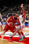 Real Madrid´s Serrgio Llull and CAI Zaragoza´s Sanikidze (L) during 2013-14 Liga Endesa basketball match at Palacio de los Deportes stadium in Madrid, Spain. May 30, 2014. (ALTERPHOTOS/Victor Blanco)