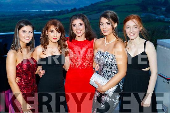 Clodagh Hannon, Valerie Guiney, Dearbhla Cronin, Rebecca Moriarty and Sadhbh O'Callaghan, Gaelcholáiste Chiarraí, pictured at the TY Ball at Ballyroe Heights Hotel, Tralee, on Saturday night last.
