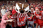MADISON, WI - FEBRUARY 17: Mascot Bucky Badger of the Wisconsin Badgers poses with fans during the game against the Penn State Nittany Lions during a Big Ten Conference game at the Kohl Center on February 17, 2007 in Madison, Wisconsin. The Badgers beat the Nittany Lions 75-49. (Photo by David Stluka)