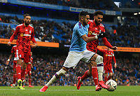 26th January 2020; Etihad Stadium, Manchester, Lancashire, England; English FA Cup Football, Manchester City versus Fulham; Riyad Mahrez of Manchester City competes for the ball with Riyad Mahrez of Manchester City