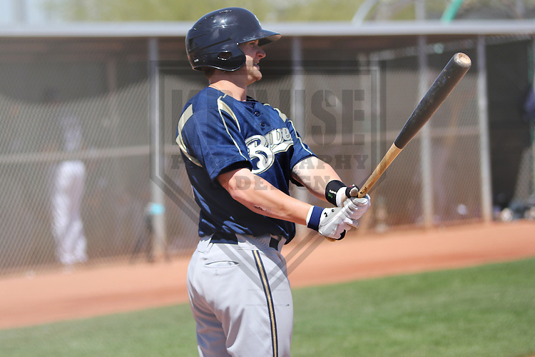 GOODYEAR - March 2013: Stephen Parker  of the Milwaukee Brewers during a Spring Training against the Cincinnati Reds on March 25, 2013 at the Reds Minor League Complex in Goodyear, Arizona.  (Photo by Brad Krause). .