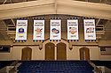 Duke men's basketball national championship banners.  Cameron Indoor Stadium.<br /> <br /> (Jon Gardiner/Duke Photography)