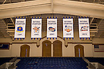 Duke men's basketball national championship banners.  Cameron Indoor Stadium.<br /> <br /> (Jon Gardiner/Duke Photography)