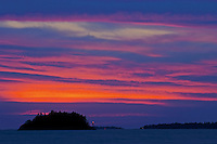 Sunset and lighthouse looking toward Sister Islands, Georgian Bay; Killbear Provincial Park<br /> Killbear Provincial Park<br /> Ontario<br /> Canada
