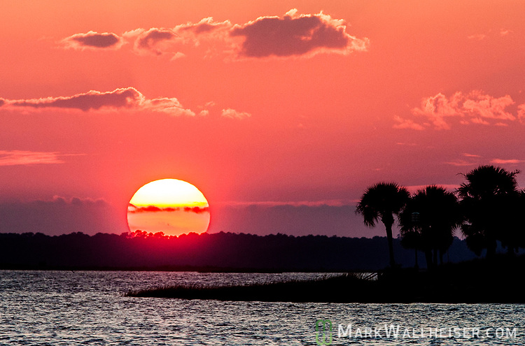 The sun sets at Shell Point along the Forgotten Coast in Wakulla County, Florida.