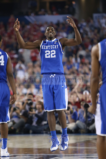 Kentucky Wildcats forward Alex Poythress (22) celebrates during the NCAA Final Four vs. Wisconsin at the AT&T in Arlington, Tx., on Saturday, April 5, 2014. Photo by Emily Wuetcher | Staff