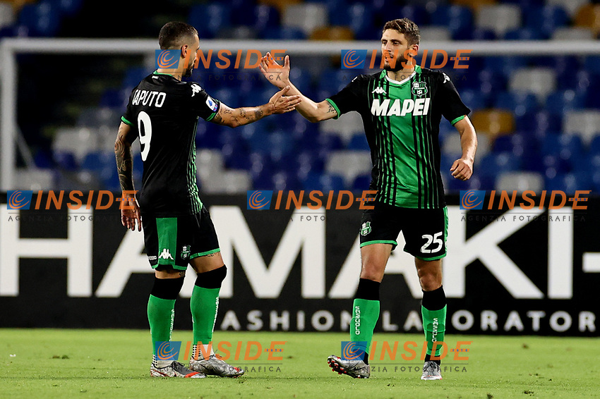 Francesco Caputo and Domenico Berardi of US Sassuolo during the Serie A football match between SSC Napoli and US Sassuolo at stadio San Paolo in Napoli ( Italy ), July 25th, 2020. Play resumes behind closed doors following the outbreak of the coronavirus disease. <br /> Photo Cesare Purini / Insidefoto