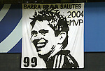 6 November 2004: DC United supporters hung a banner honoring Jaime Moreno as the team's MVP of the season. DC United defeated the New England Revolution 4-3 on penalties after the game ended in a 3-3 tie at RFK Stadium in Washington, DC in the Major League Soccer Eastern Conference Championship Match. .