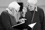 """King Lear"" rehearsed reading rehearsals. Old Vic Theatre. Director: Jonathan Miller. L to R: Tony Britton, Jonathan Miller."